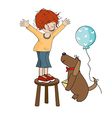Funny boy celebrates his birthday with dog vector image