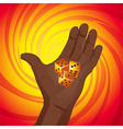 Hand with dices on yellow and red background vector image vector image