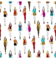 Seamless pattern of women in casual outfits vector image vector image