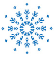 Blue silhouette of snowflake on white background vector image