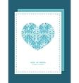 light blue swirls damask heart symbol frame vector image