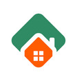 polygonal green orange house logo vector image