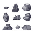 set of different cartoon-style boulders isolated vector image