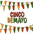 cinco de mayo postcard holiday pennant bunting vector image