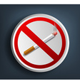 ashtray with cigarette and prohibitory sign vector image