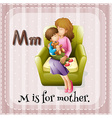 Flashcard alphabet M is for mother vector image vector image