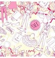 Seamless pattern with mannequin and fashion vector image