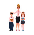 Female teacher and students holding books vector image