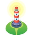 Red and white striped cartoon style lighthouse vector image