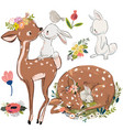 set with cute deer and hares vector image
