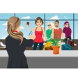 airport receptionist returns ticket to woman vector image
