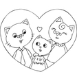 Cat grandfather grandmother and grandson vector image