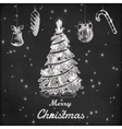 Christmas and New year chalk hand drawn vector image
