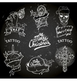 christmas tattoo set vector image