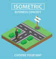 Isometric businessman stand in front of crossroad vector image