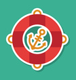 Marine life buoy and anchor on blue background vector image