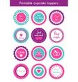 set of printable cupcake wedding toppers vector image