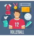 Volleyball sport equipment and outfit vector image vector image