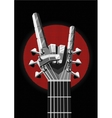 Rock poster with a metal hand and guitar Music vector image
