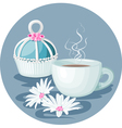 Cupcake cup of coffee and flowers composition vector image