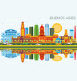 buenos aires skyline with color landmarks blue vector image