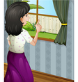A woman at the window vector image vector image