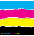 Set of lacerated bright papers in cmyk colors vector image