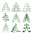 Christmas trees sketch set vector image
