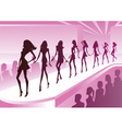 Fashion models show new clothes at a review vector image
