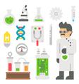 Flat design mad scientist item set vector image
