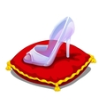 Ice clear shoe on red pillow isolated vector image