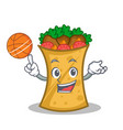 playing basketball kebab wrap character cartoon vector image