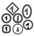 Set of Number One Icon Isolated vector image