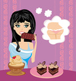 girl eats sweets vector image