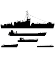 landing craft silhouettes vector image vector image