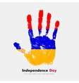 Handprint with the Armenian flag in grunge style vector image