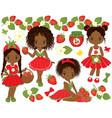 cute little african american girls vector image