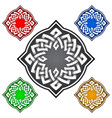four-cornered logo template in celtic knots style vector image