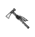 hand drawn indian tomahawk vintage vector image
