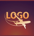Logo of an airplane on sunset background vector image