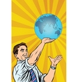 Man holding planet Earth in hand vector image