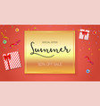 summer sale ad selling banner on gold background vector image