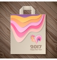 Year of rooster design for paper bag vector image