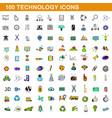100 technology icons set cartoon style vector image