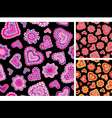 Seamless hand-drawn hearts patterns vector image vector image