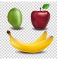 Set of fruits apple mango banana realistic vector image