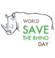 creative hand drawn concept of world rhino day vector image