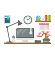 Flat design working desk decor vector image