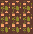 green house plant in pot seamless pattern vector image