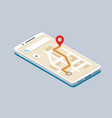 Isometric smartphone with map navigation vector image